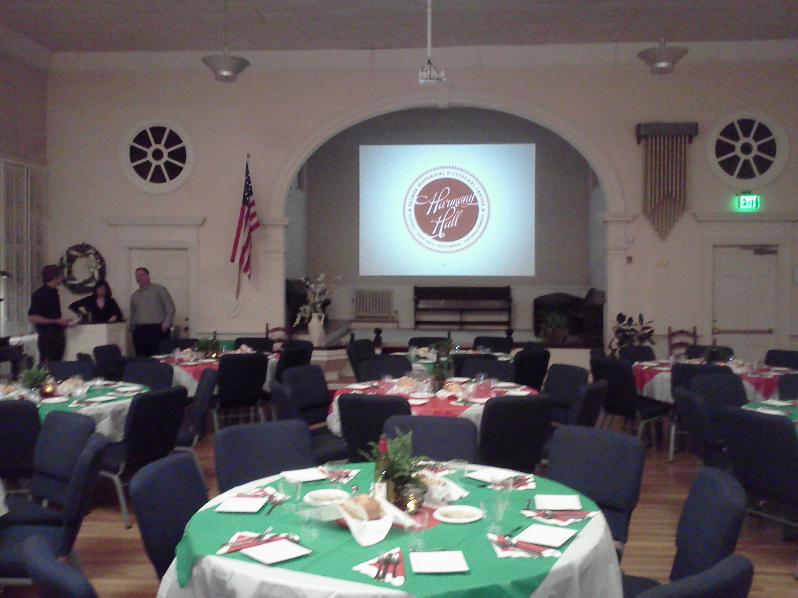 Harmony Hall set up for an International Night dinner.