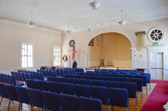 Harmony Hall set up lecture style.
